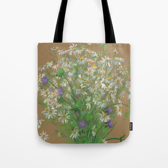 """Meadow flowers"", white daisies, floral art, pastel drawing Tote Bag"