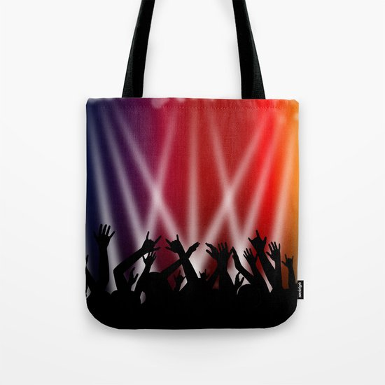 Dancing Crowd With Multi Colour and White Spotlights Tote Bag