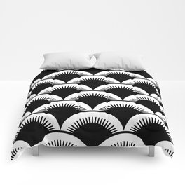 Japanese Fish Scales Black and White Comforters