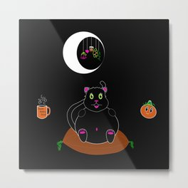 Black Kitty under a Waning Moon Metal Print