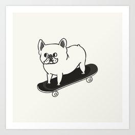 Skateboarding French Bulldog Art Print
