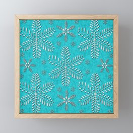 DP044-11 Silver snowflakes on turquoise Framed Mini Art Print