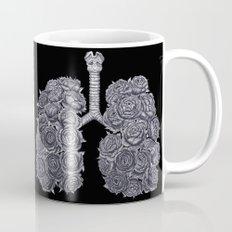 Lungs with peonies on black Mug
