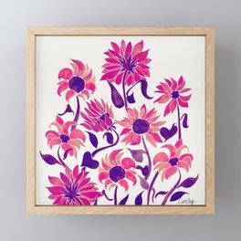 Sunflower Watercolor – Pink & Purple Palette Framed Mini Art Print