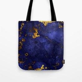 Gold Blue Indigo Malachite Marble Tote Bag