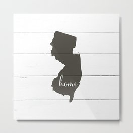 New Jersey is Home - Charcoal on White Wood Metal Print