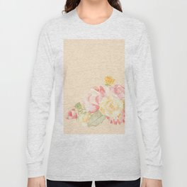Spring Flowers Peach Long Sleeve T-shirt