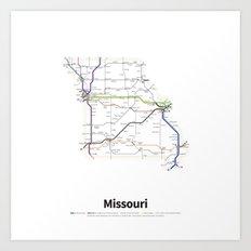 Highways of the USA – Missouri Art Print