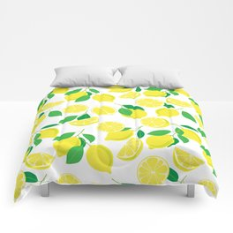 Lemons, tropical pattern Comforters