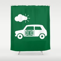 austin Shower Curtains featuring Austin Mini by Clemens Hellmund