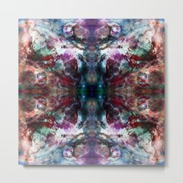Fusako - Abstract Batik Butterfly Ink Blot Mandala Art Metal Print