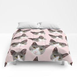 girly cute pink pattern snowshoe cat Comforters