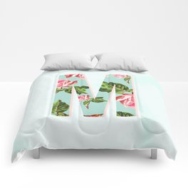 Floral Letter M - Letter Collection Comforters
