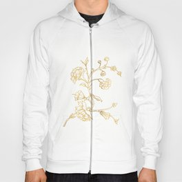 Golden flower on white background . artwork . Hoody
