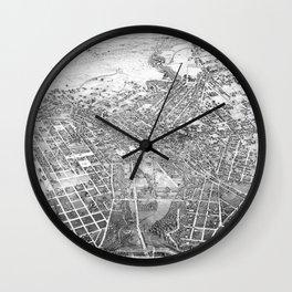 Vintage Pictorial Map of San Antonio TX (1886) BW Wall Clock