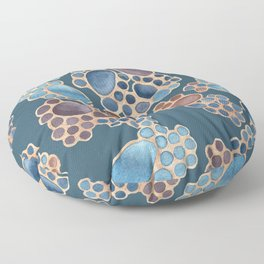 Pebbles in Plums on Blue Pattern Floor Pillow