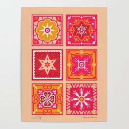 Talavera Mexican Tile – Hot Pink & Orange Palette Poster