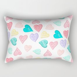 Modern pastel typography sweets heart love illustration pattern Rectangular Pillow