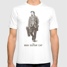 The Man Guitar Cat Mens Fitted Tee White LARGE