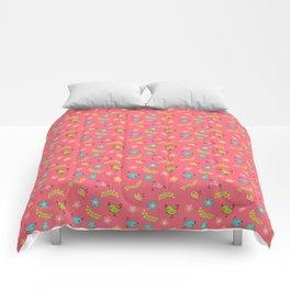 Doodle Birds - Spring Pattern in Pink Comforters