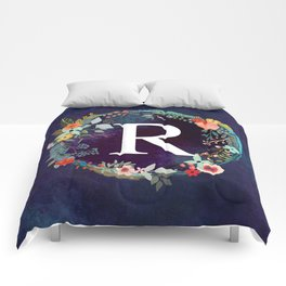 Personalized Monogram Initial Letter R Floral Wreath Artwork Comforters
