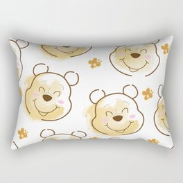 Inspired Pooh Bear surrounded with bees Pattern on White background Rectangular Pillow