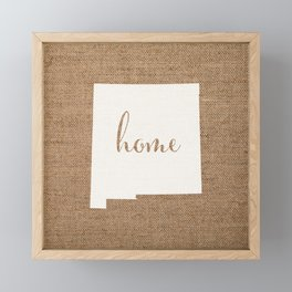 New Mexico is Home - White on Burlap Framed Mini Art Print