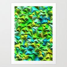Green broken and blue tiles Art Print