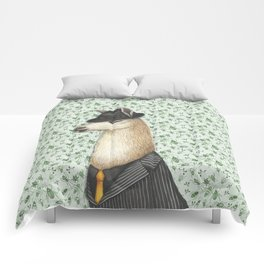 Gangster Llama in a Fedora and pinstriped suit Comforters