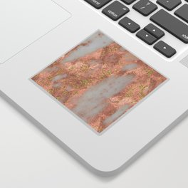 Rose Gold Marble with Yellow Gold Glitter Sticker