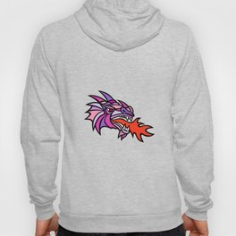 Mosaic Mythical Dragon Breathing Fire Mascot Hoody