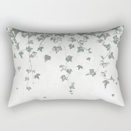 Gray Green Trailing Ivy Leaf Print Rectangular Pillow