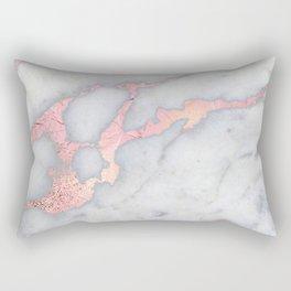 Rosegold Pink on Gray Marble Metallic Foil Style Rectangular Pillow