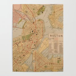 Vintage Map of Boston MA (1902) Poster