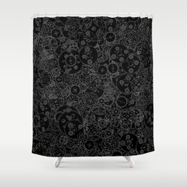 Clockwork B&W inverted / Cogs and clockwork parts lineart pattern Shower Curtain