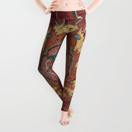 Flowery Arabic Rug II // 17th Century Colorful Plum Red Light Teal Sapphire Navy Blue Ornate Pattern Leggings