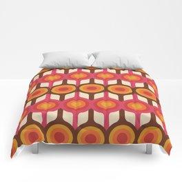 Magenta, Orange, Ivory & Brown Retro 1960s Circle Pattern Comforters