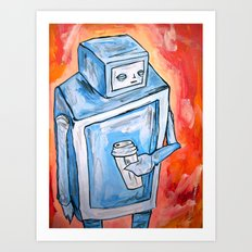 sleepy robot Art Print