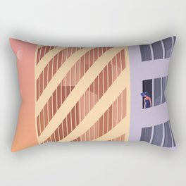 The Blue Hat Girl / Sunset Rectangular Pillow