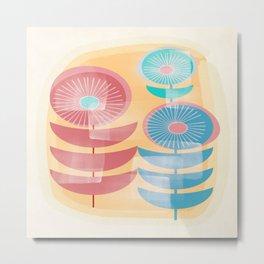 Three Flowers in Retro Style Metal Print
