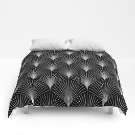 Black & white art-deco pattern Comforters