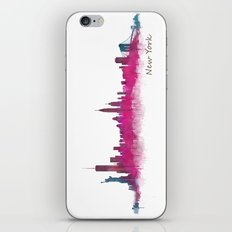 New York NYC City Skyline v05 Pink Violet iPhone & iPod Skin