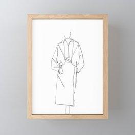Fashion illustration line drawing - Marge Framed Mini Art Print