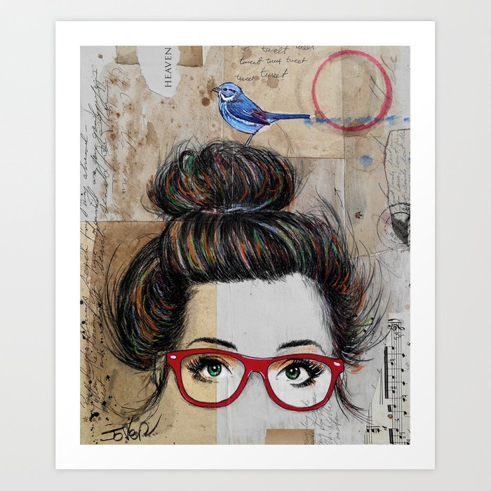 Sunday's Society6 | Mixed media art print of a girl with red glasses and a blue bird on her head