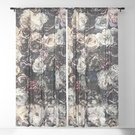 Flower Wall // Desaturated Vintage Floral Accent Background Jaw Dropping Decoration Sheer Curtain