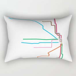 Chicago CTA Map, Chicago Train Map Art, Chicago L Train Map, Chicago Art, Chicago Wall Art, Map Art Rectangular Pillow