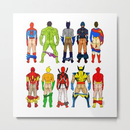 Superhero Butts Metal Print
