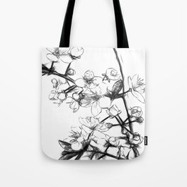 Cherry Blossoms Minimal Drawing Tote Bag