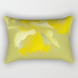 Sign of Spring - Yellow Narcissus on Spring Green Background #decor #society6 #buyart Rectangular Pillow