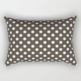 Taupe and White Polka Dot Pattern Rectangular Pillow
